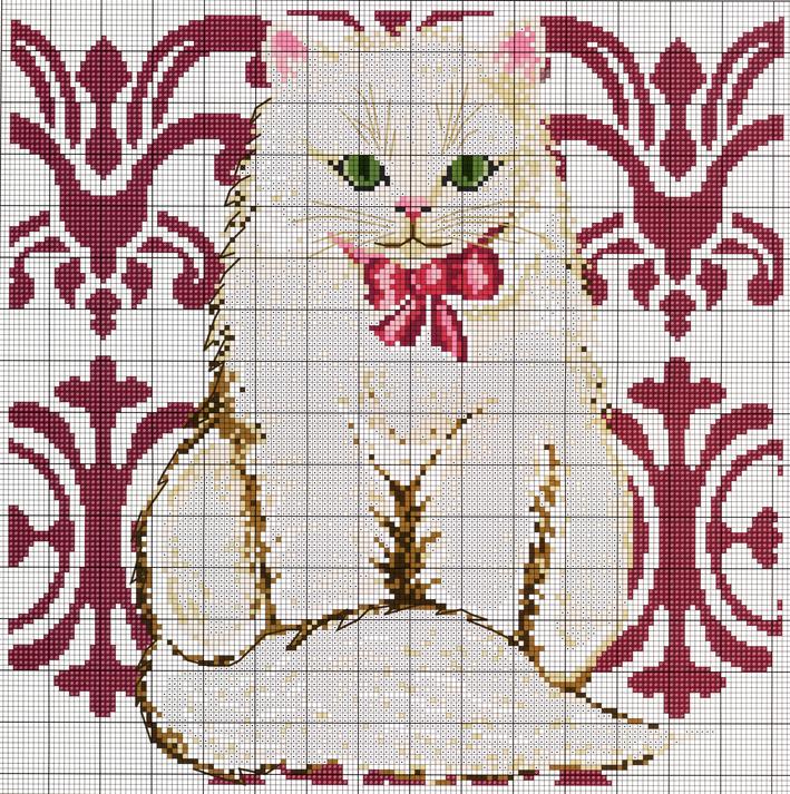 схема вышивки. 1. Вышить кота